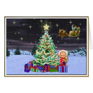 Christmas at Night Greeting Card