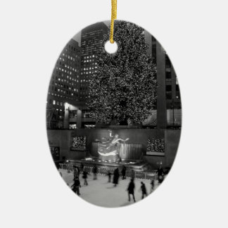 Christmas at Rockefeller Center & the Ice Skaters Ceramic Oval Decoration