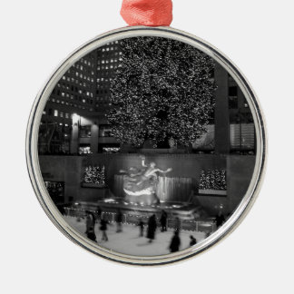 Christmas at Rockefeller Center & the Ice Skaters Silver-Colored Round Decoration