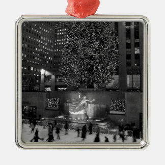 Christmas at Rockefeller Center & the Ice Skaters Silver-Colored Square Decoration