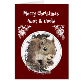 Christmas Aunt & Uncle from group Humor Squirrel Greeting Card