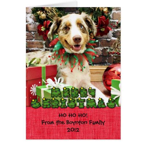 Christmas - Australian Shepherd - Cash Greeting Card