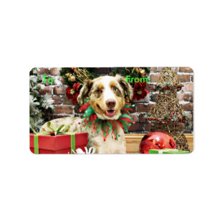 Christmas - Australian Shepherd - Cash Address Label