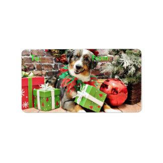 Christmas - Australian Shepherd - Loki Address Label