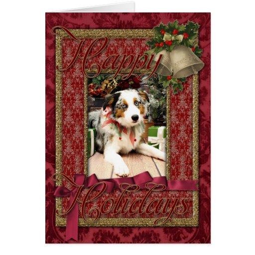 Christmas - Australian Shepherd - Ozzie Greeting Cards