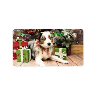 Christmas - Australian Shepherd - Ozzie Address Label