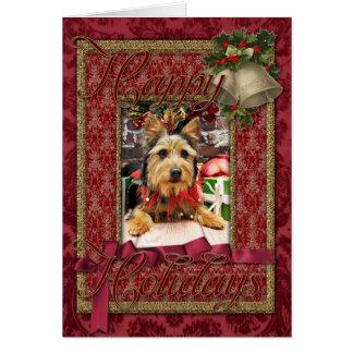 Christmas - Australian Terrier - Leo Greeting Cards
