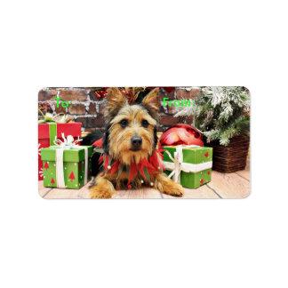 Christmas - Australian Terrier - Leo Address Label