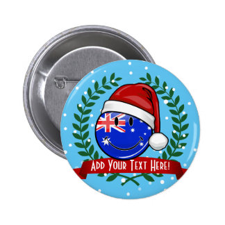 Christmas Auzzie style Smiling Australian Flag 6 Cm Round Badge