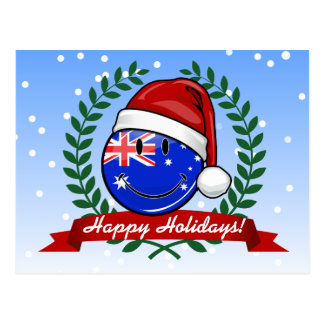 Christmas Auzzie style Smiling Australian Flag Postcard