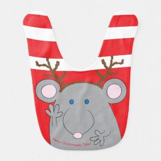 """Christmas Baby Bib """"Merry Christmouse"""""""