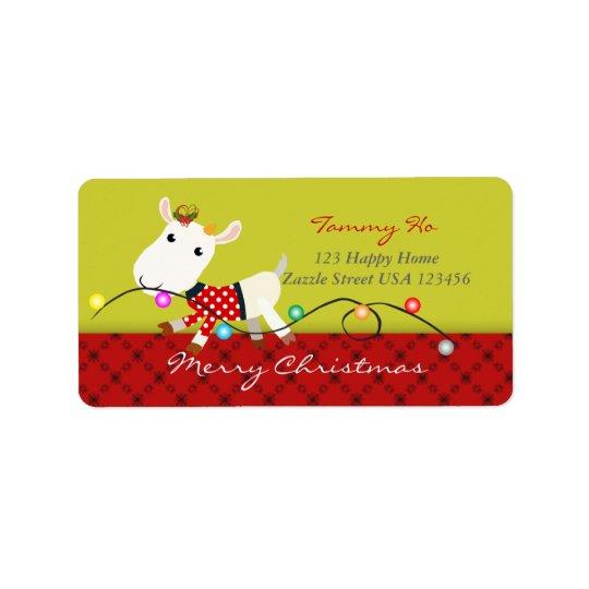 Christmas Baby Goat KId Animal Label