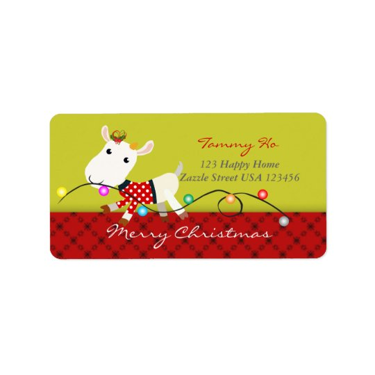 Christmas Baby Goat KId Animal Label Address Label