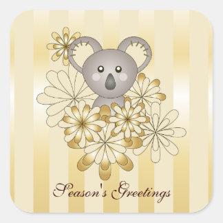 Christmas Baby Koala Square Stickers