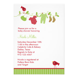 Christmas Baby Laundry Invitations Custom Invites