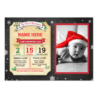 Christmas Baby Stats Card My First Xmas Invite