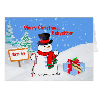 Christmas, Babysitter, Snowman, Gift, Snow Card