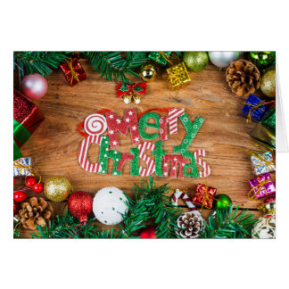 Christmas background with decorations and gift box card