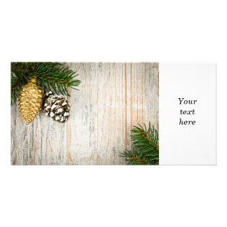 Christmas background with ornaments on branch customised photo card