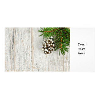 Christmas background with ornaments on branch custom photo card