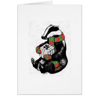 Christmas Badger Greeting Card