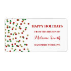Christmas Baking Labels Gold Red Green Confetti