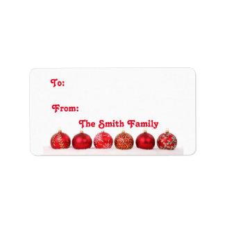 Christmas Ball Ornaments Label
