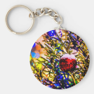 Christmas Ball Red Basic Round Button Key Ring
