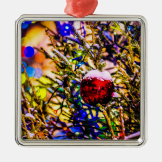 Christmas Ball Red Silver-Colored Square Decoration