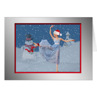 Christmas, Ballet, Snow Scene Card