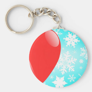 Christmas Balloon Basic Round Button Key Ring