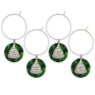 Christmas Balls and Tree,green Wine Charm