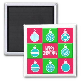 Christmas Balls Square Magnet