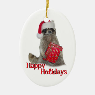 Christmas Bandit Racoon with Present Ceramic Oval Decoration
