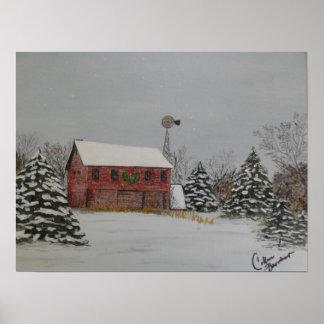 Christmas Barn Poster