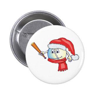 Christmas baseball in santa hat 6 cm round badge