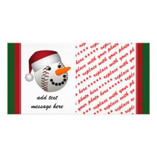 Christmas Baseball Snowman Customised Photo Card