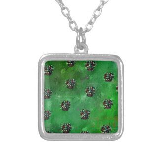 CHRISTMAS BASKET PATTERN SILVER PLATED NECKLACE