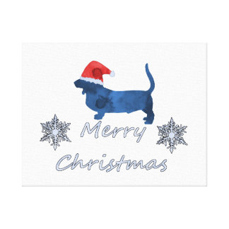 Christmas Basset hound Canvas Print