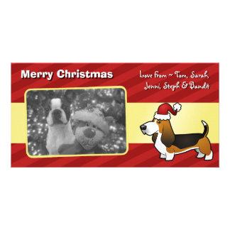 Christmas Basset Hound Customised Photo Card