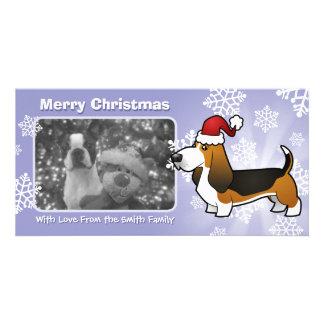 Christmas Basset Hound Personalised Photo Card