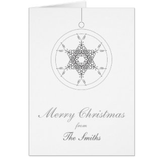 Christmas | bauble with vintage floral snowflake card
