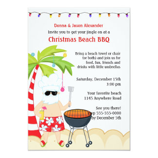 Christmas BBQ on the Beach 13 Cm X 18 Cm Invitation Card