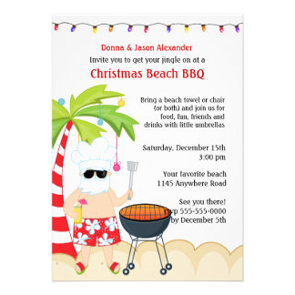 Christmas BBQ on the Beach Custom Announcements