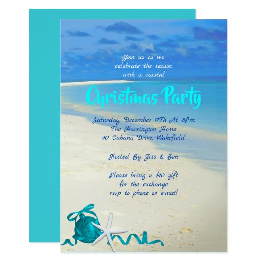 Christmas Beach Party Sand and Sea Invitation