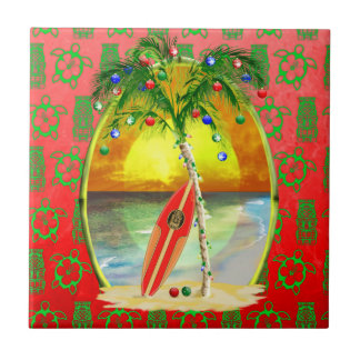 Christmas Beach Sunset Small Square Tile