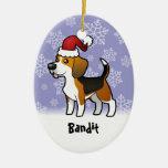 Christmas Beagle (add your pets name) Ceramic Oval Decoration