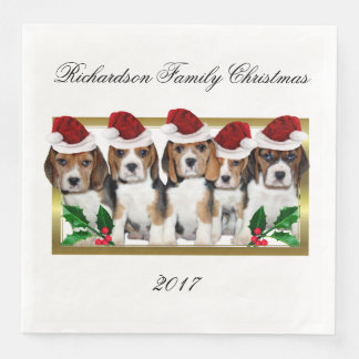 Christmas Beagle puppies paper napkins
