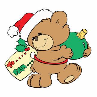 Christmas Bear as Present Standing Photo Sculpture