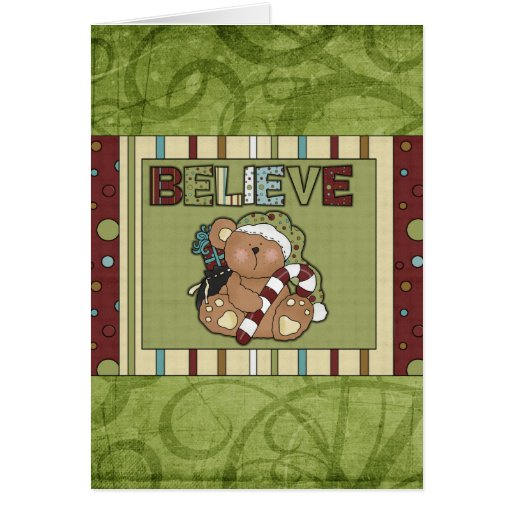 Christmas Bear Believe Holiday Greeting Card